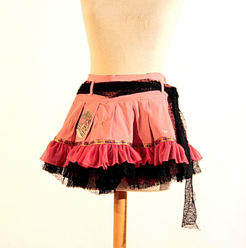 coral and black skirt Pleated Ruffles University Skirt Denim Skirt Art Coral Skirt Denim Coral Skirt Appliques Skirt Teen Girls