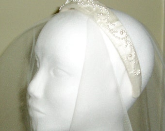 Wedding Alice band hand beaded with pearl beads