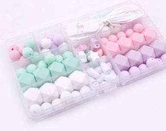DIY Silicone Teething Necklace, DIY Silicone Teething Necklace Kit, Silicone Beads, Wholesale Silicone Beads, DIY Food grade Silicone