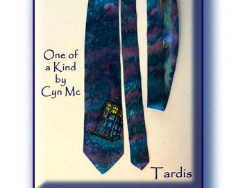 Tardis Silk Necktie, Hand Painted Original, One of a Kind by Cyn Mc