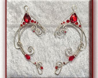 Wire Elf Ears, Elf Ear Cuff, 'Twirl Style' In Sterling Silver Filled wire, and Red Swarovski Crystals