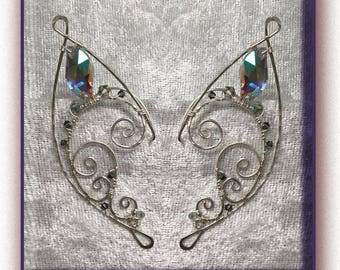 Wire Elf Ears, Elf Ear Cuff, 'Twirl Style' In Sterling Silver Filled wire, and Swarovski Crystals