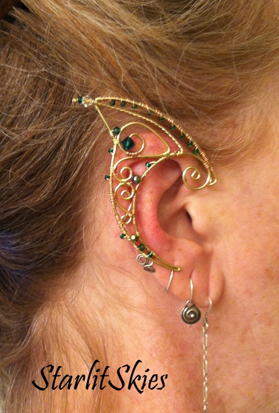 Wire Elf Ears With Green Crystals In Brass Etsy