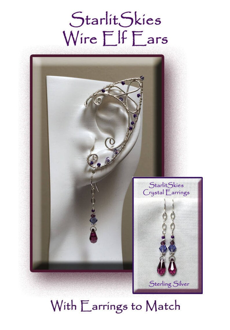 Trinity Style Wire Elf Ears with Amethyst Crystal Teardrop Earrings to Match crafted in Sterling Silver