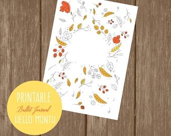 Printable bullet journal  hello month