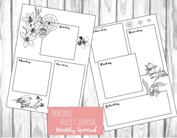 photograph relating to Bullet Journal Weekly Spread Printable referred to as Printable bullet magazine weekly unfold