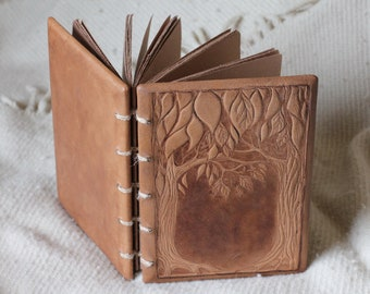 Leather wedding guest book- journal Trees of life