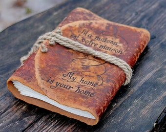 Medieval journal Personalized Wedding guest A4 book big leather journal weddings bridal shower engagement anniversary