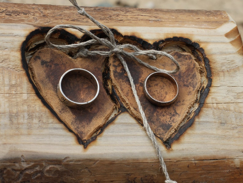 Rustic wood ring bearer pillow with two hearts for rustic wedding
