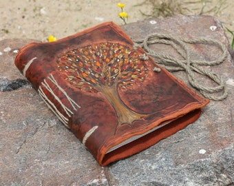 Tree of Life leather journal wedding guest book bridal shower engagement anniversary