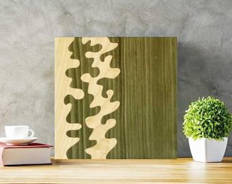 Gift home decor, abstract wall art, original artwork modern, wall hanging wood, living room decor, green abstract art, handmade art wooden