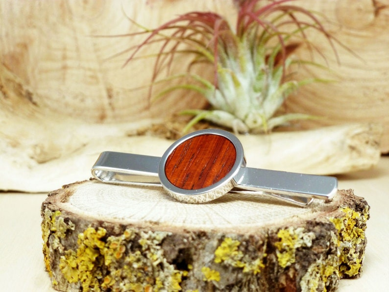 Wooden Accessories Company Wooden Tie Clips with Laser Engraved Ear Clip Design Cherry Wood Tie Bar Engraved in The USA