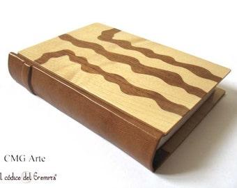 Leather blank book, writing journal, journal wood, exclusive journal, leather notebook, mini journal, original gift, handmade journal art
