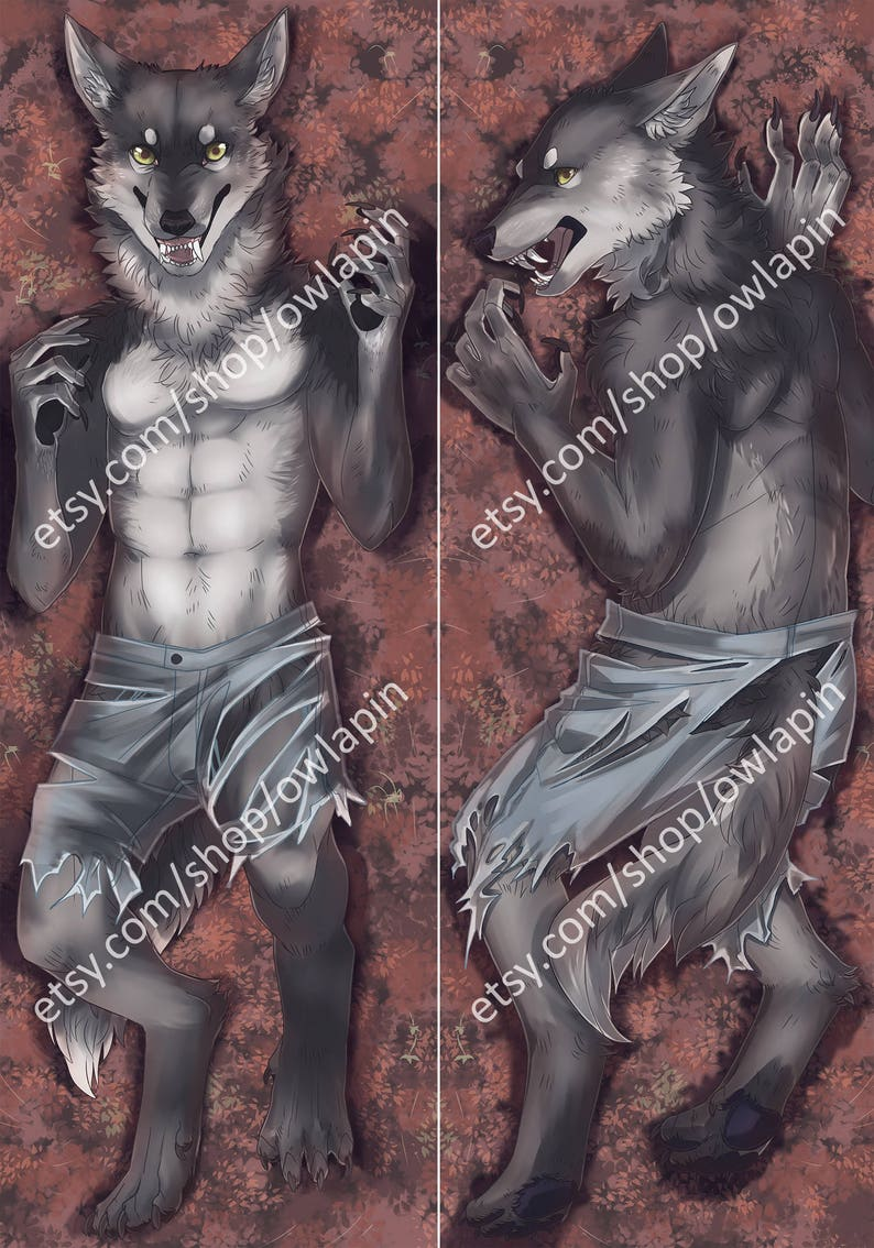 Large Werewolf 2 Sided Body Pillow Case Etsy