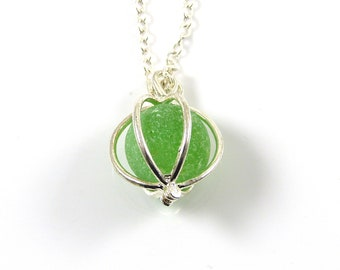 Sea Glass Necklace, Lime Green Sea Glass, Sea Glass Marble, Locket Necklace, LEAH, Beach Glass, Sea Glass Pendant, Northumberland