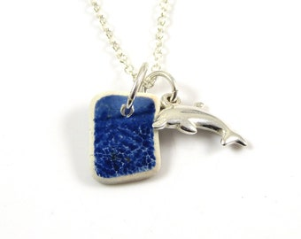 Blue and White Beach Pottery and Sterling Silver Dolphin Charm Necklace, Sea Pottery, Dolphin Jewelry, Dolphin Necklace, Unique c280