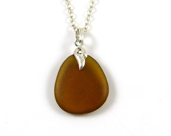 Sea Glass Necklace, Toffee Brown, LAYLA, Sea Glass Pendant, Minimalist Necklace, English Sea Glass, Northumberland, The Strandline