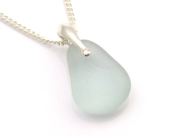 Sea Glass Necklace, Sterling Silver, Pale Blue, Dainty Necklace, Delicate Necklace, Next Day Delivery, KARLEE