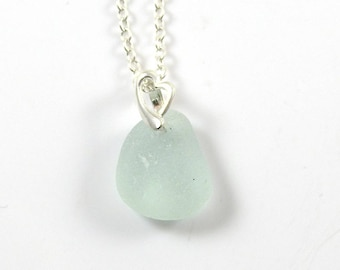 Sea Glass Necklace,  Sterling Silver Heart Bail, FRANCINE, Sea Glass Jewelry, Sea Glass Necklace, The Strandline, Pale Aquamarine