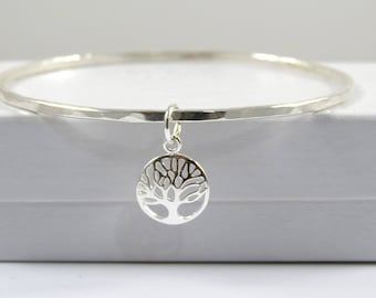 Sterling Silver Bangle / Tree of Life Charm / Bracelet Bangle / SS Bangle / Silver Bangle / Hammered Bangle / Tree Charm / Charm Bangle
