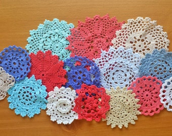 15 Red, White, Blue, and Beige Vintage Crochet Doily Medallions, 2 to 4 inch Craft Doilies, Hand Dyed Doilies for Dream Catchers and More