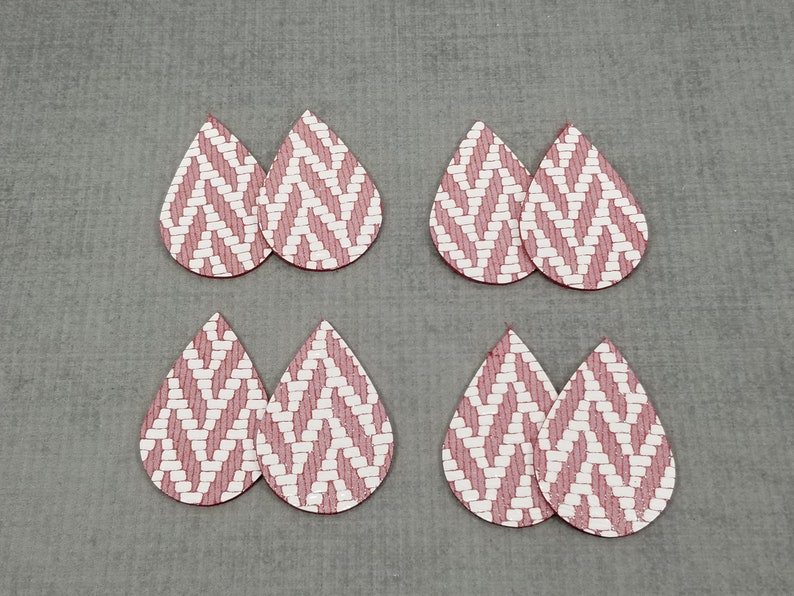 Leather Shapes for Earring Making 8 Pieces Chevron Pattern Leather Tear Drops Red with White 4 Pairs of Leather Teardrops