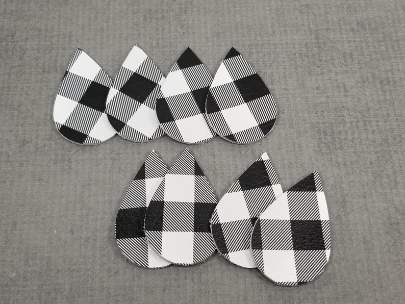 Leather Teardrop Shapes for Earrings Genuine Leather Black and White Buffalo Check Leather Pieces Buffalo Plaid 4 pairs
