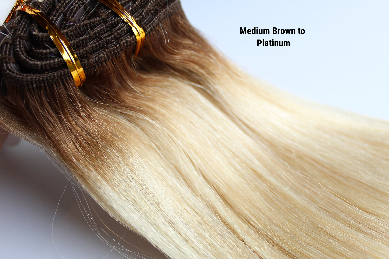 Platinum Medium Brown Root Human Hair Extensions Clip In Etsy