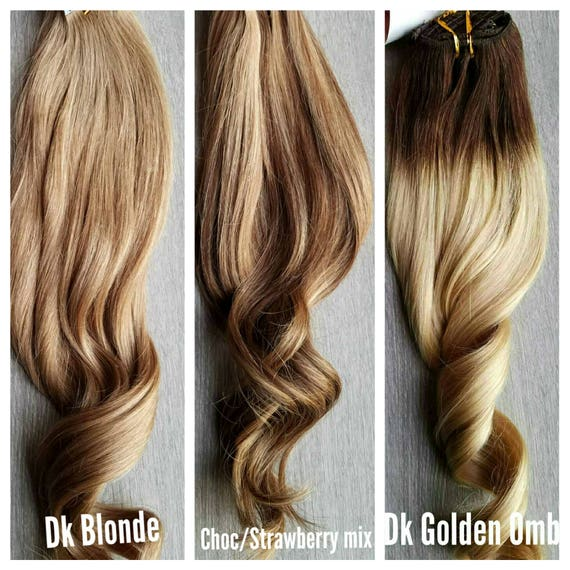 Human Hair Extensions Ombre Color Melt Highlighted Etsy