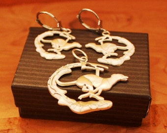 Greyhound Pendant and Ear Rings - 9 grams sterling silver