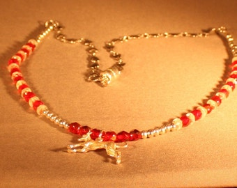 """Greyhound 3 Dimentional Sterling Silver Charm 21"""" Siam Ruby Beaded Necklace"""