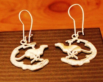 """Greyhound/Sighthound Sterling Silver Ear Rings -""""Duncan Running on the Beach"""""""