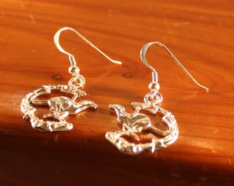 """Ear Rings -New """"Duncan"""" Running at the Beach Greyhound/Sighthound Sterling Silver 4 Broken Leg Fund"""