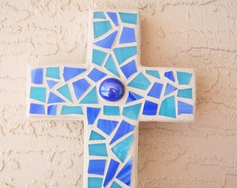 Mosaic Cross Decorative Cross Blue Wall Cross Hanging Cross Religious Gift Blue Home Decor Stained Glass Mosaic Art Boy's Room Cross