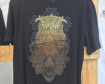 Womens Owl Archimedes Henna Bamboo Shirt and Tanktop