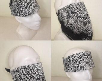 Bandana - Black - Organic Cotton - Face Mask - Hand dyed - Hand printed - Hand drawn mandala by Ansel Cummings - Sacred Geometry