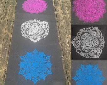 Mandala Yoga Mat - Hand Drawn - Hand Printed - Sacred Geometry - FREE SHIPPING