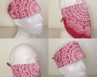 Bandana - Organic Cotton - Face Mask - Hand dyed - Hand printed - Hand drawn mandala by Ansel Cummings - Sacred Geometry - Deep Red