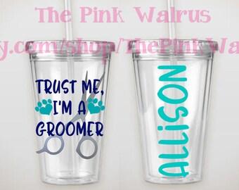 Custom 16 oz Dog Groomer Cup | Dog Groomer Gift | Dog Groomer Tumbler | Personalized Tumbler | Groomer Cup