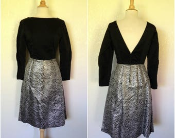 a5e32a73c29 Vintage 1950s 60s black satin n silver brocade cocktail dress