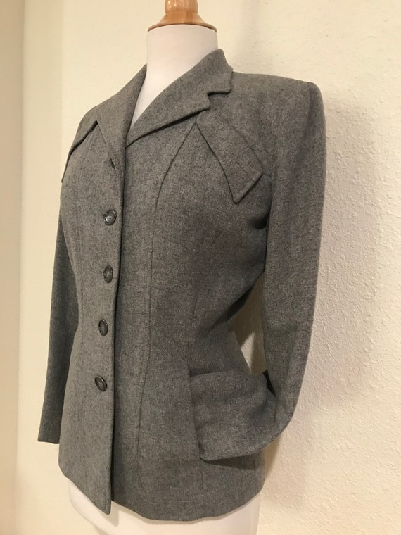 Vintage 1940s Grey Wool Fitted Tailored Suit Jack… - image 3