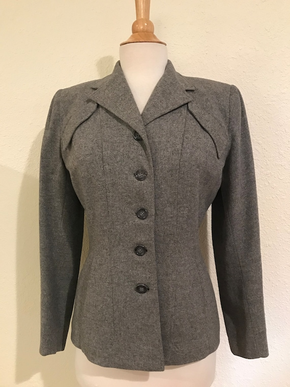 Vintage 1940s Grey Wool Fitted Tailored Suit Jack… - image 1