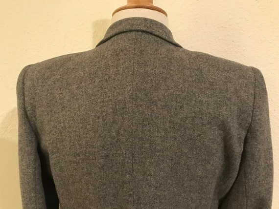 Vintage 1940s Grey Wool Fitted Tailored Suit Jack… - image 7