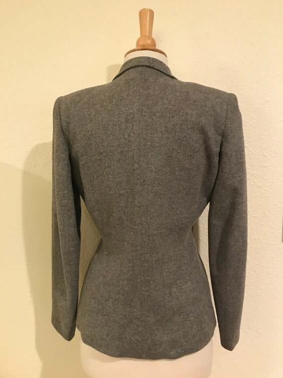 Vintage 1940s Grey Wool Fitted Tailored Suit Jack… - image 6