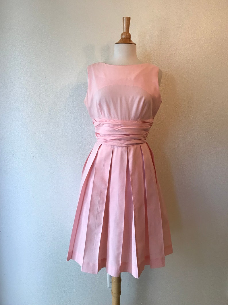 f6e6ad13a2a Vintage 1950s pastel pink pleated summer cocktail dress