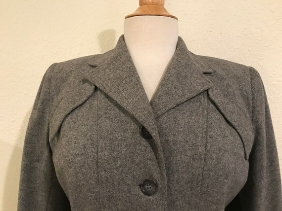 Vintage 1940s Grey Wool Fitted Tailored Suit Jack… - image 2