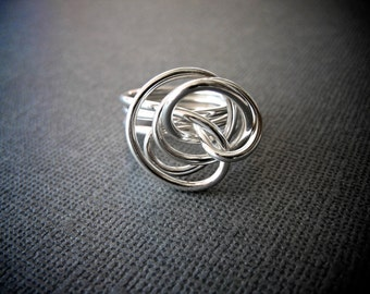 Big Statement Ring / Love Knot Ring / Silver Cocktail Ring / Gift for Her / Silver Twisted Ring