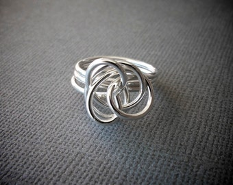 Silver Love Knot Ring / Unique Silver Ring / Twisted Silver Ring / Medium Silver Twist Ring