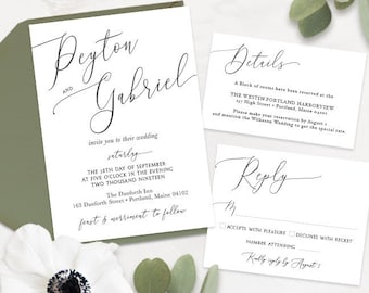 Large Script Names Wedding Invitation, Reply card, and details card set - PRINTABLE