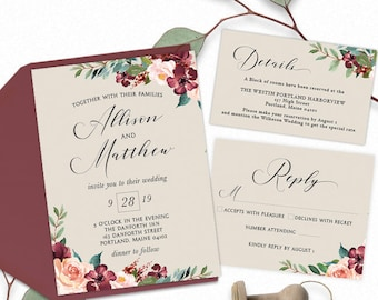 Burgundy and Blush Watercolor Wedding Invitation, Reply card, and details card set - PRINTABLE